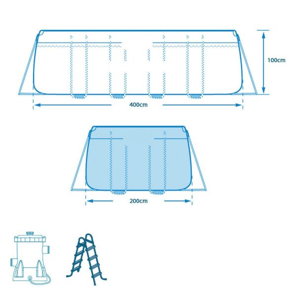 Intex medence Prism Frame 400 x 200 x 100 cm